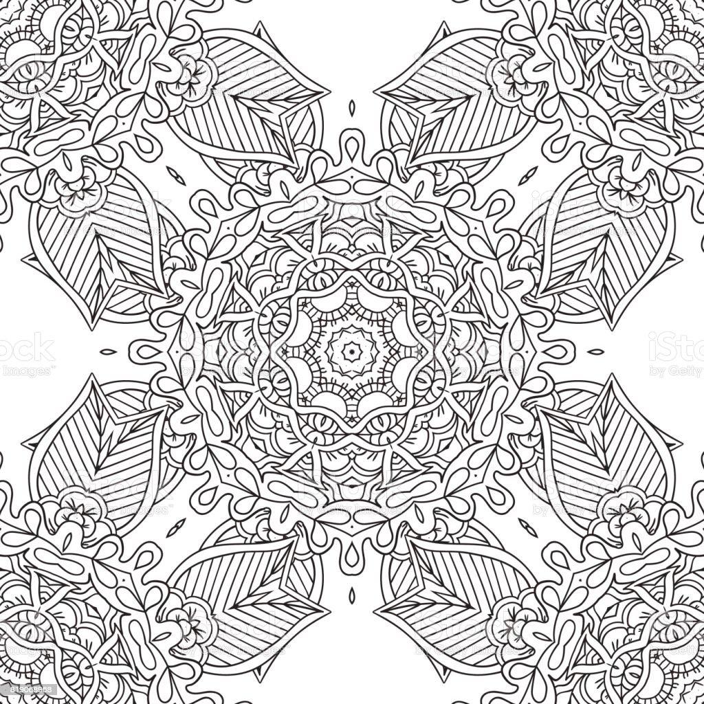 Målarbilder för vuxna. Dekorativa hand dras doodle natur prydnads curl vektor sketchy sömlösa mönster - Royaltyfri 20-29 år vektorgrafik