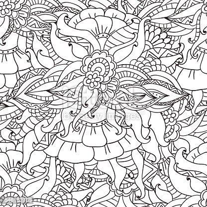 Coloring Pages For Adultsdecorative Hand Drawn Doodle Nature Ornamental Stock Vector Art More Images Of Adult 546182708