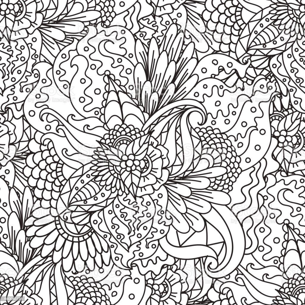 Coloring pages for adults.Decorative hand drawn doodle nature ornamental vector art illustration