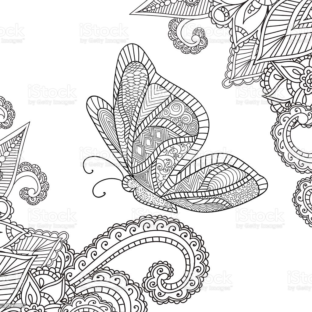 Coloring pages for adults.Henna Mehndi Doodles Abstract Floral Elements vector art illustration