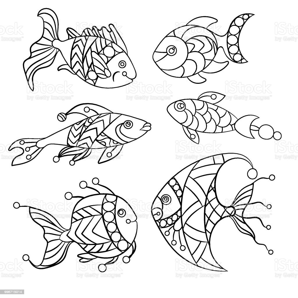Coloring Pages For Children And Adults With Set Of Ocean Fishes In Vector Illustration Ornament
