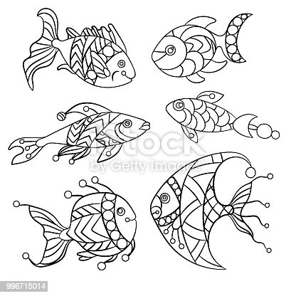 Coloring Pages For Children And Adults With Set Of Ocean