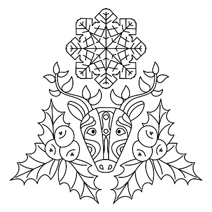 Coloring pages for children. Deer, Holly leaves and berries, snowflakes .