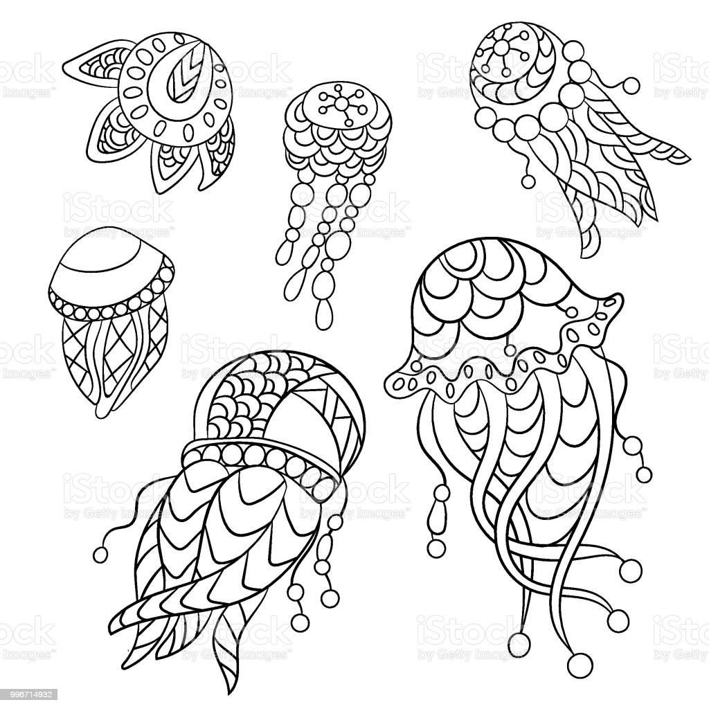 Coloring Pages In Vector Graphic Illustration For Children And Adults With Ocean Animals Stock Illustration Download Image Now Istock