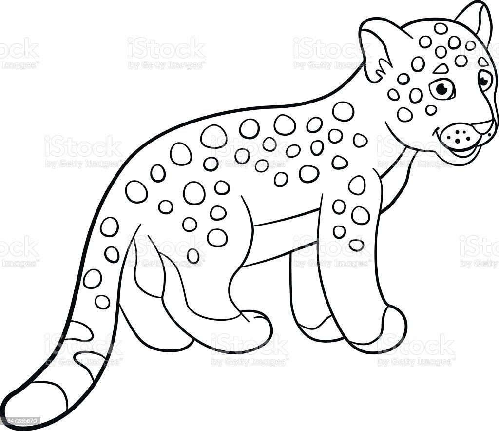 Coloring Pages Little Cute Baby Jaguar Smiles - Arte vectorial de ...