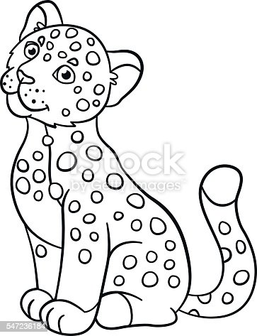 Coloring Pages Little Cute Baby Jaguar Smiles stock vector