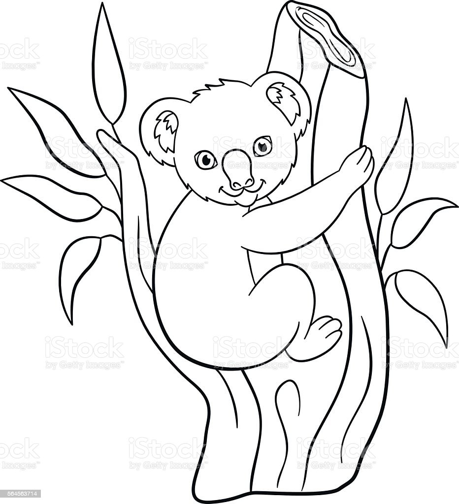 Coloring Pages Little Cute Baby Koala Smiles stock vector ...