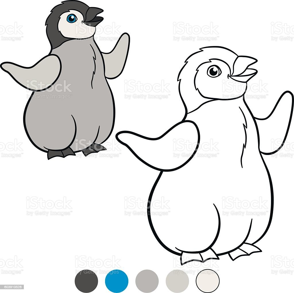 Coloring Pages Little Cute Baby Penguin Smiles Stock Vector Art ...