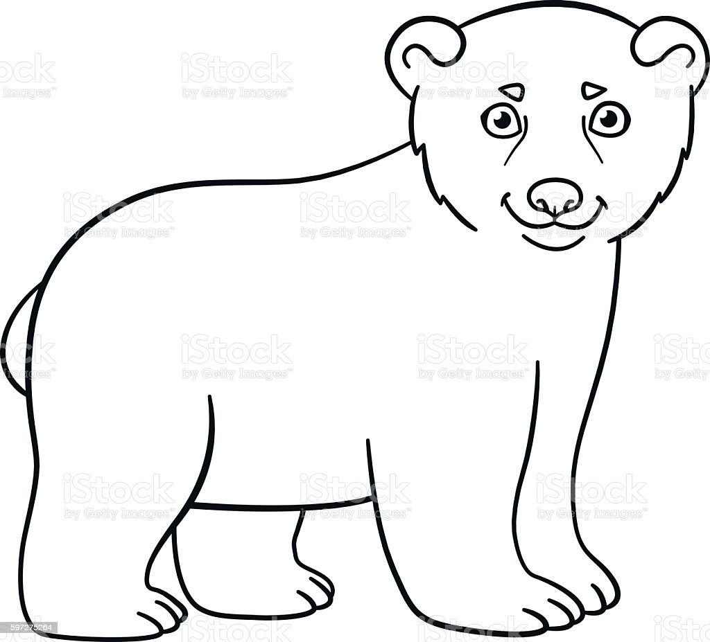 Coloring pages little cute baby polar bear stock vector for Coloring pages polar bear