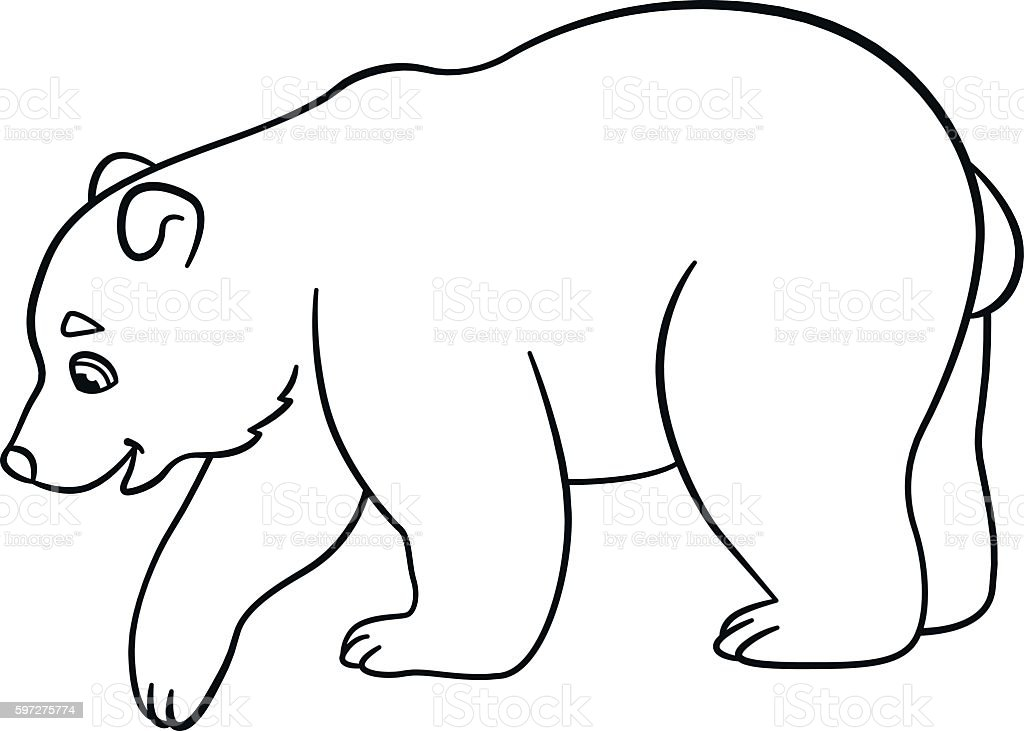 coloring pages little cute baby polar bear royalty free stock vector art