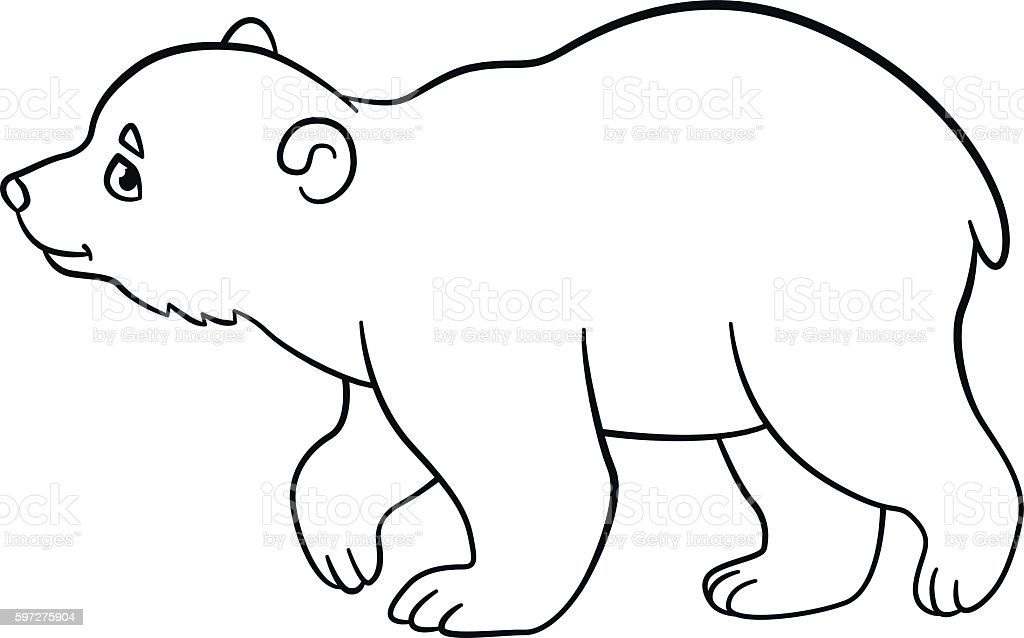 Coloring Pages Little Cute Baby Polar Bear Walks Stock Vector Art