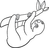 Coloring Pages Mother Sloth With Her Little Cute Baby Stock Vektor