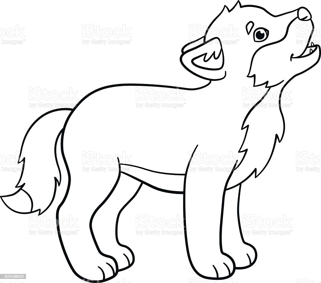 Coloring Pages Little Cute Baby Wolf Howls Stock