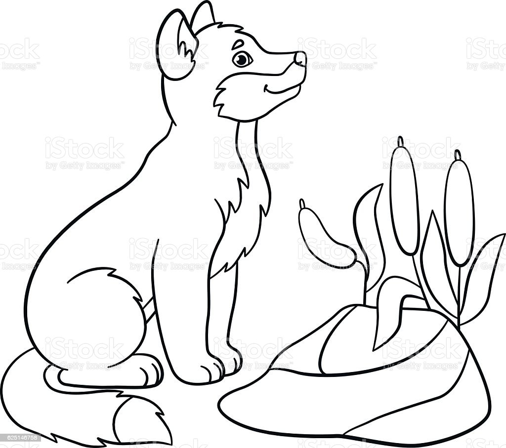 Coloring Pages Little Cute Baby Wolf Smiles stock vector art ...