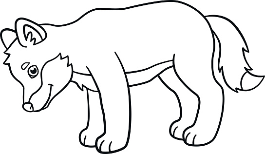 Coloring Pages Little Cute Baby Wolf Smiles Stock ...
