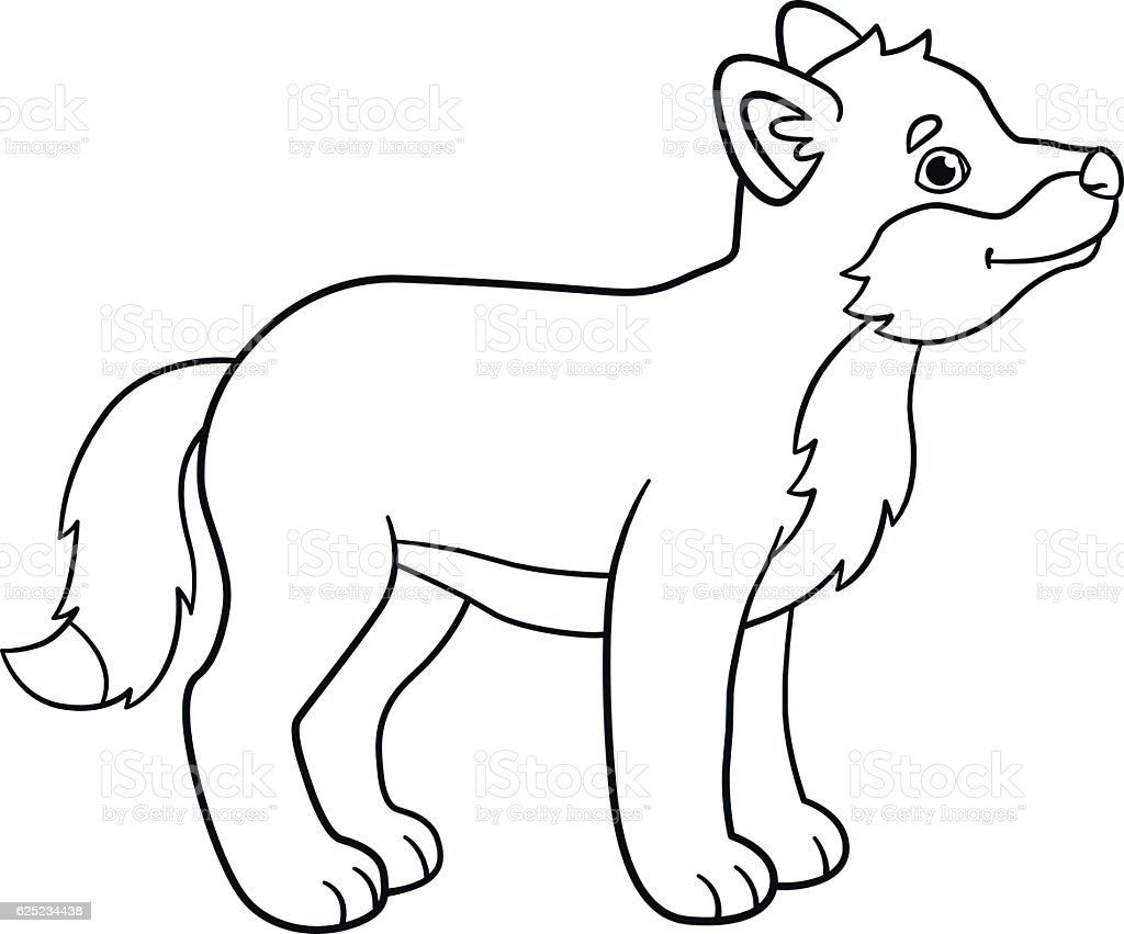 Coloring Pages Little Cute Baby Wolf Smiles Stock Vector