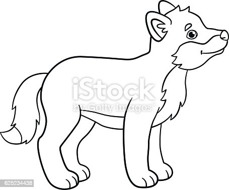 Coloring Pages Little Cute Baby Wolf Smiles Stock Vector ...