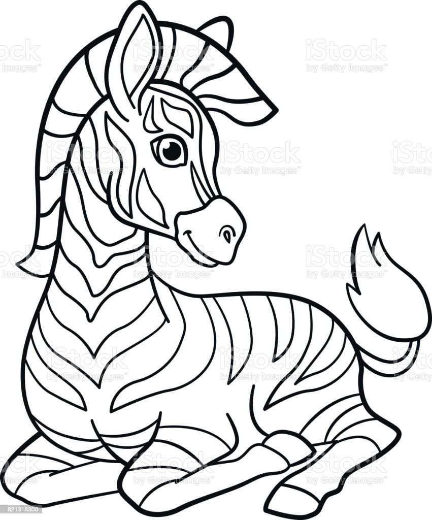 Boyama Sayfaları Küçük şirin Bebek Zebra Stok Vektör Sanatı Afrika