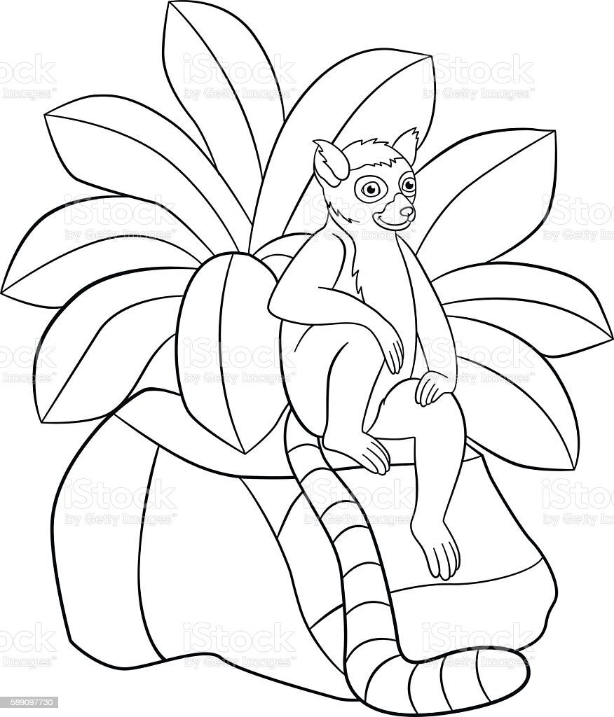 Coloring Pages Little Cute Lemur Smiles stock vector art 589097730