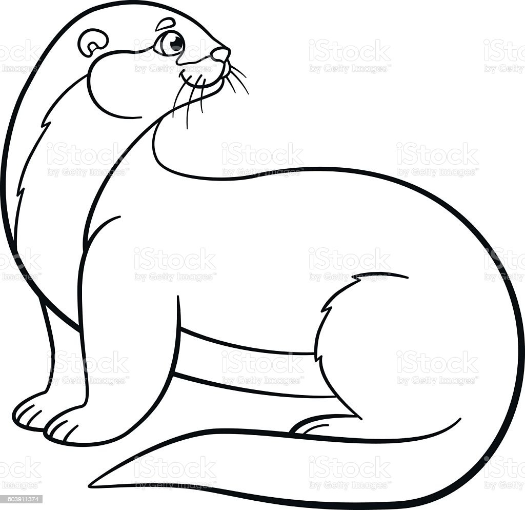 coloring pages little cute otter smiles stock illustration