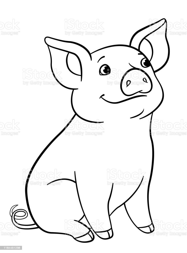 Coloring Pages Little Cute Piglet Sits And Smiles Stock ...