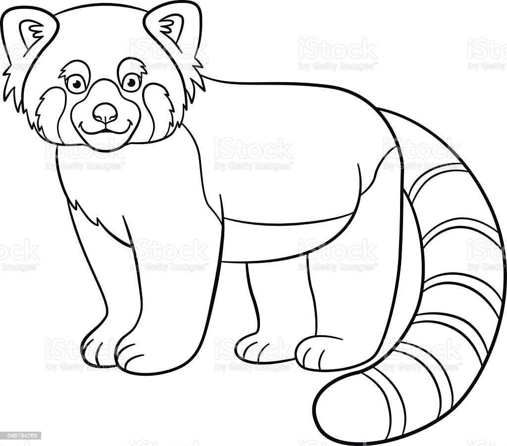 coloring pages little cute red panda smiles royalty free stock vector art