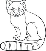 coloring pages little cute red panda smiles