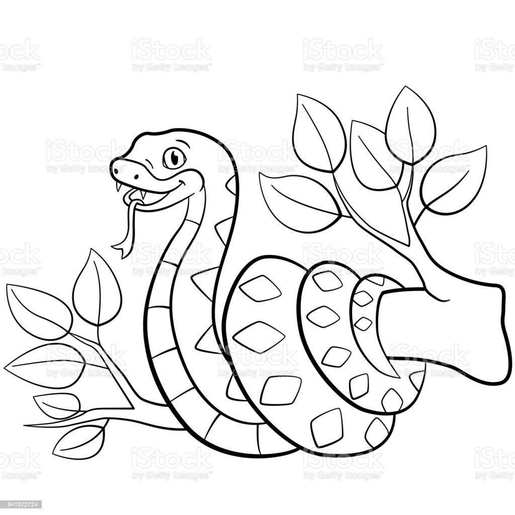 Ilustración de Dibujos Para Colorear Viper Lindo Poco En El árbol y ...
