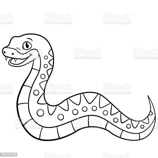 malvorlagen kleine niedliche viper lächelt stock vektor