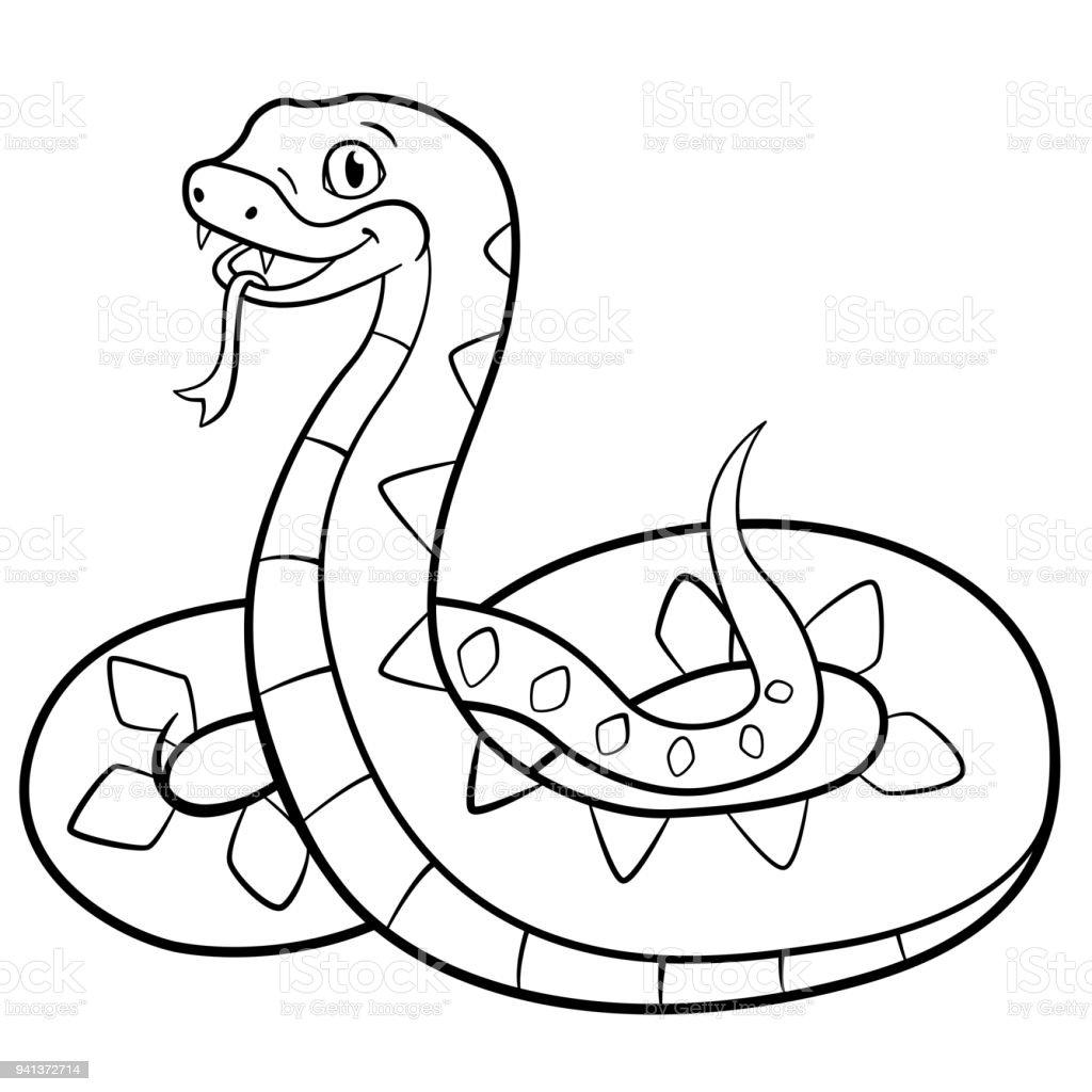 Vistoso Linda Serpiente Para Colorear Imagen - Dibujos Para Colorear ...