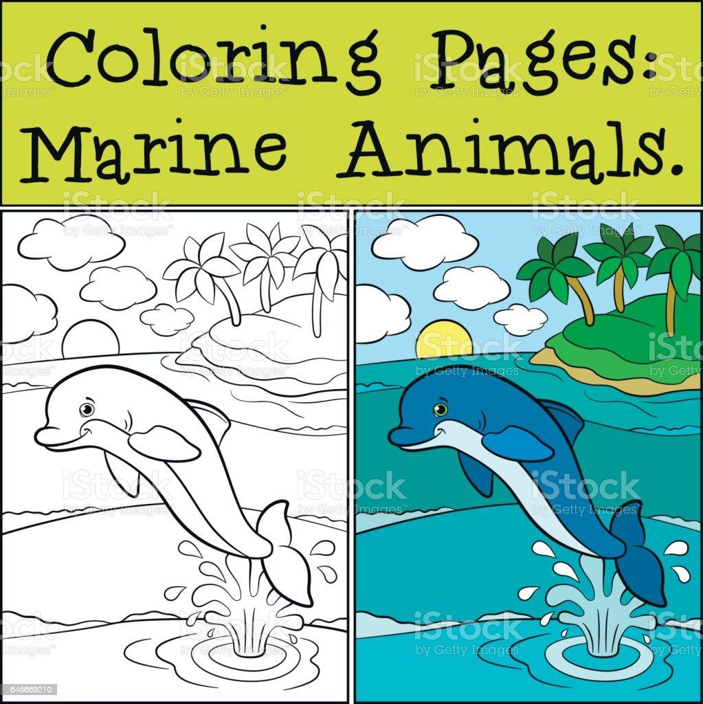 Malvorlagen Meerestiere Kleine Niedliche Delfin Springt Aus Dem ...