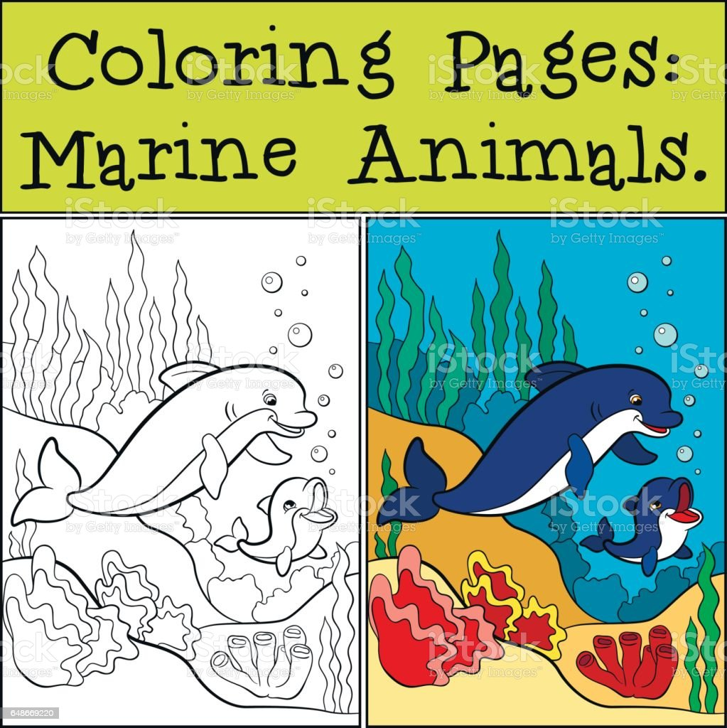 Coloring Pages Marine Animals Mother Dolphin Swims With Her Little ...