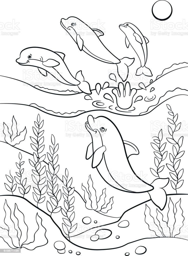 Boyama Sayfalari Deniz Vahsi Hayvanlar Sevimli Yunuslar Sudan