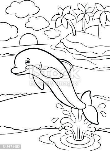Kleurplaten Van Zeedieren.Kleurplaten Wild Zeedieren Kleine Schattige Dolfijn Springt Uit Het
