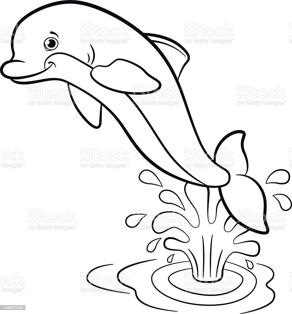 Coloring Pages Marine Wild Animals Little Cute Dolphin Jumps Stock ...