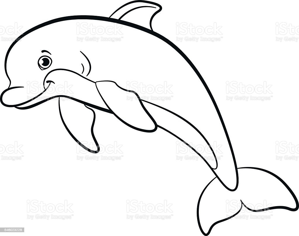 Coloring Pages Marine Wild Animals Little Cute Dolphin Stock Vector ...