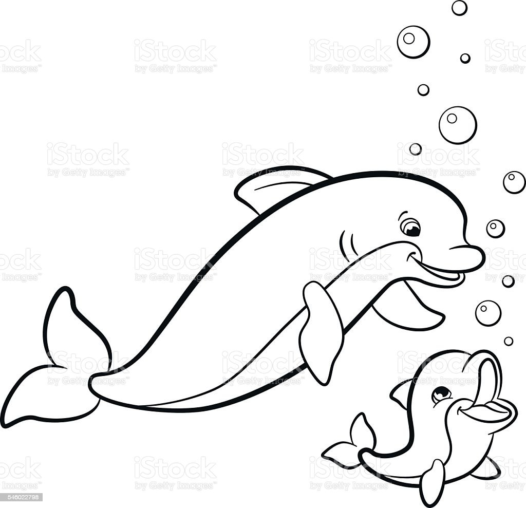 coloring pages marine wild animals mother dolphin with her baby