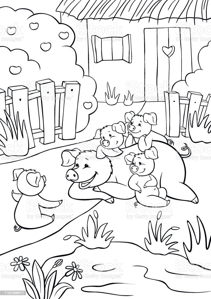 Coloring Pages Mommy Pig And Three Little Cute Pigs Are