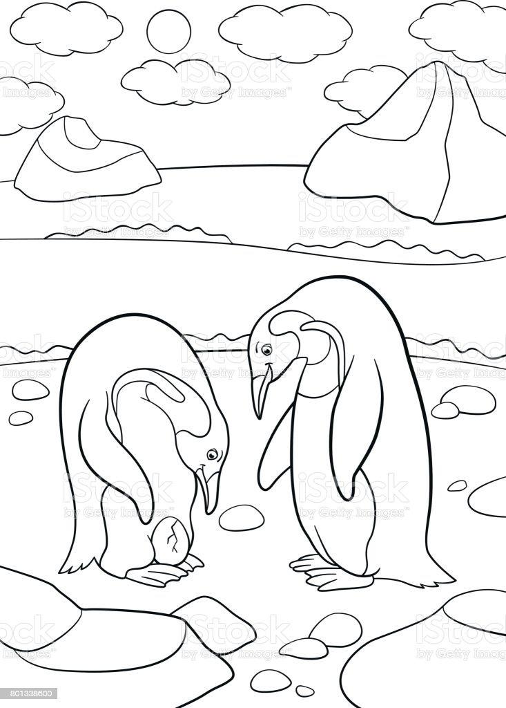 Ilustración de Dibujos Para Colorear Madre Y Padre Pingüino Mira El ...