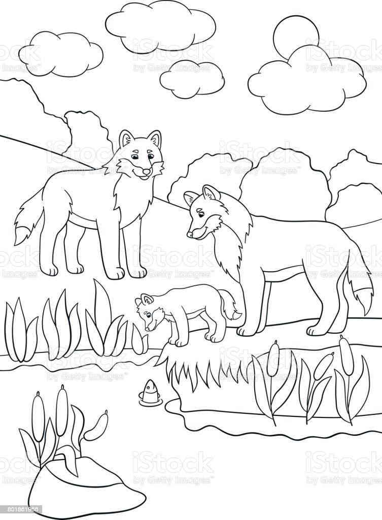 Ilustración de Dibujos Para Colorear Lobos De La Madre Y El Padre ...