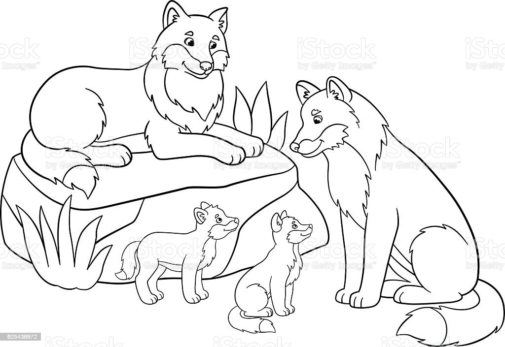 Coloring Pages Mother And Father Wolves With Their Babies Royalty Free Stock Vector