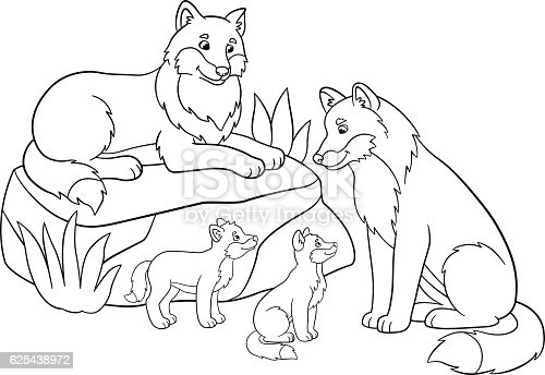 Coloring Pages Mother And Father Wolves With Their Babies Stock Vector Art 625438972