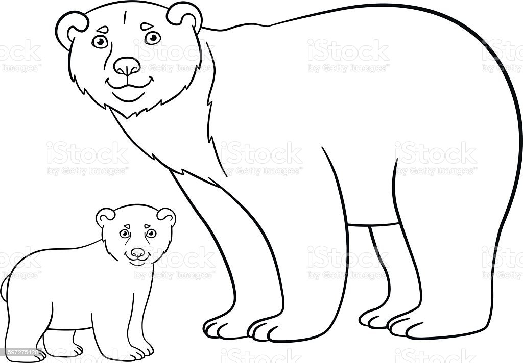 coloring pages mother bear with her cute baby stock illustration download image now istock. Black Bedroom Furniture Sets. Home Design Ideas