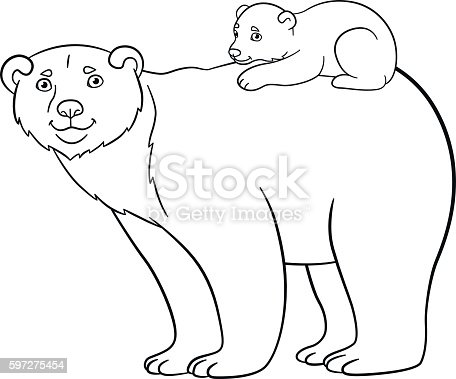 Coloring Pages Mother Bear With Her Cute Baby Stock Vector