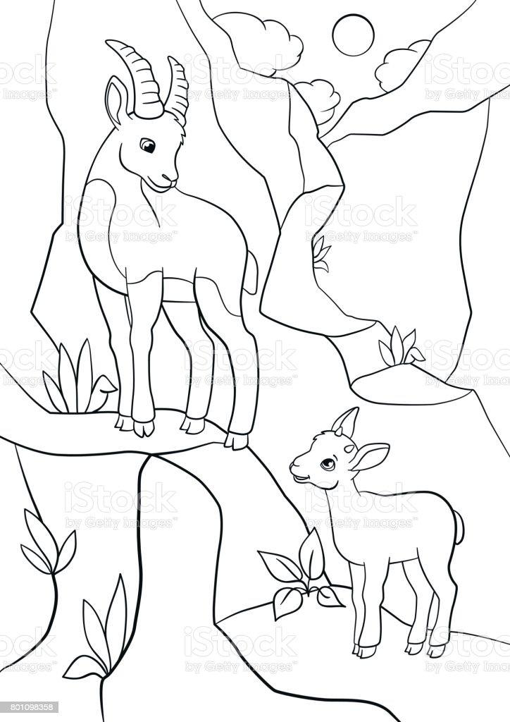 Boyama Sayfaları Onun Küçük şirin Bebek Ile Anne Dağ Keçisi Stok