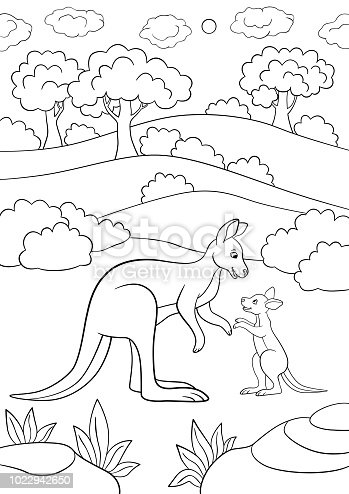 Coloring Pages Mother Kangaroo With Her Little Baby Stock Vector Art ...