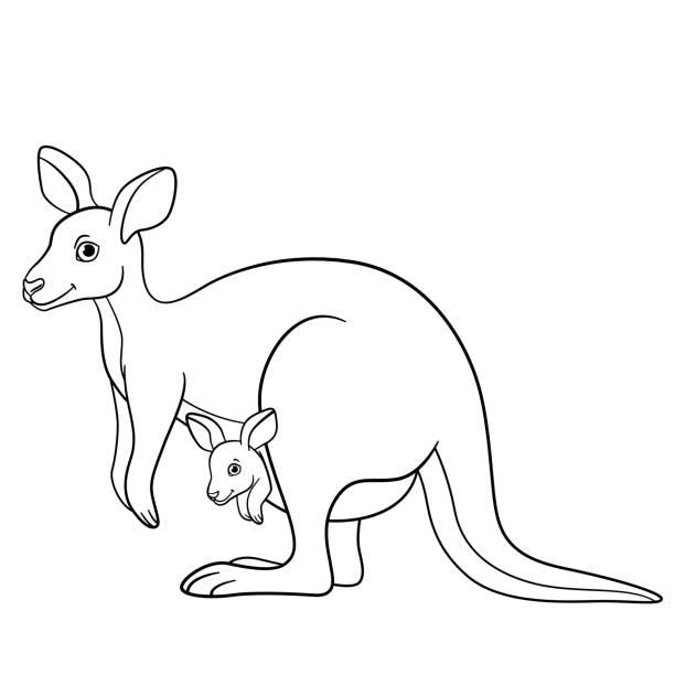 Vectores de Canguro De Dibujos Animados Lindo Animal Plano ...
