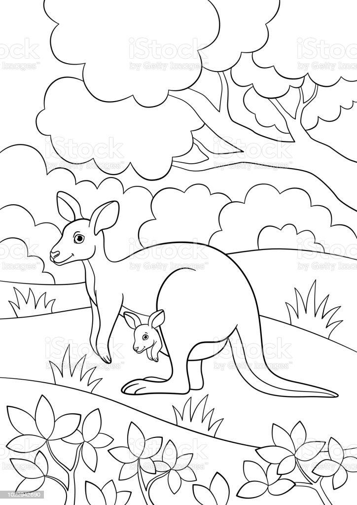 Boyama Sayfaları Onun Küçük Bebek Ile Anne Kanguru Stok Vektör