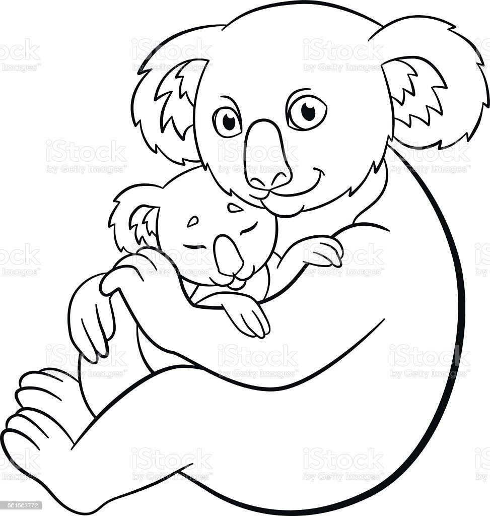 Coloring Pages Mother Koala With Her Cute Sleeping Baby Stock Vector ...