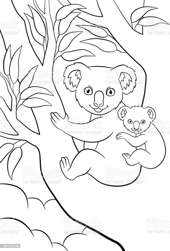 Ilustración de Dibujos Para Colorear Madre Koala Con Su Lindo Bebé y ...